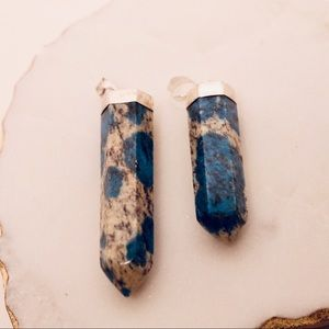 Jewelry - Azurite in Granite Pendants with Sterling Silver